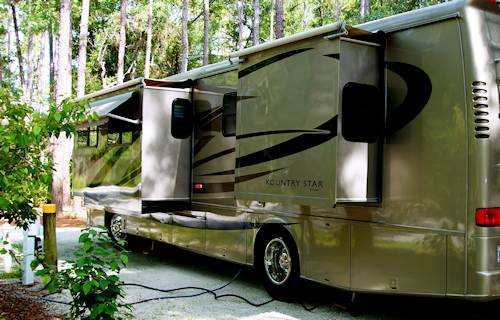 Motorhome with RV slide outs