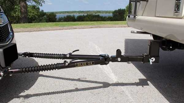 RV tow bar for flat towing vehicles.