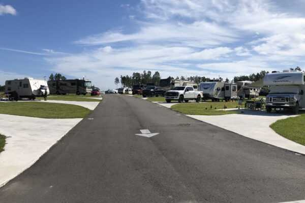 Campsites in the new section of the RV resort